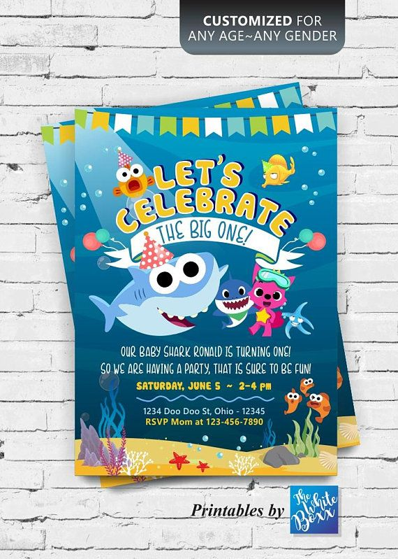 Baby Shark theme birthday invite for your boy / girl - Any ...