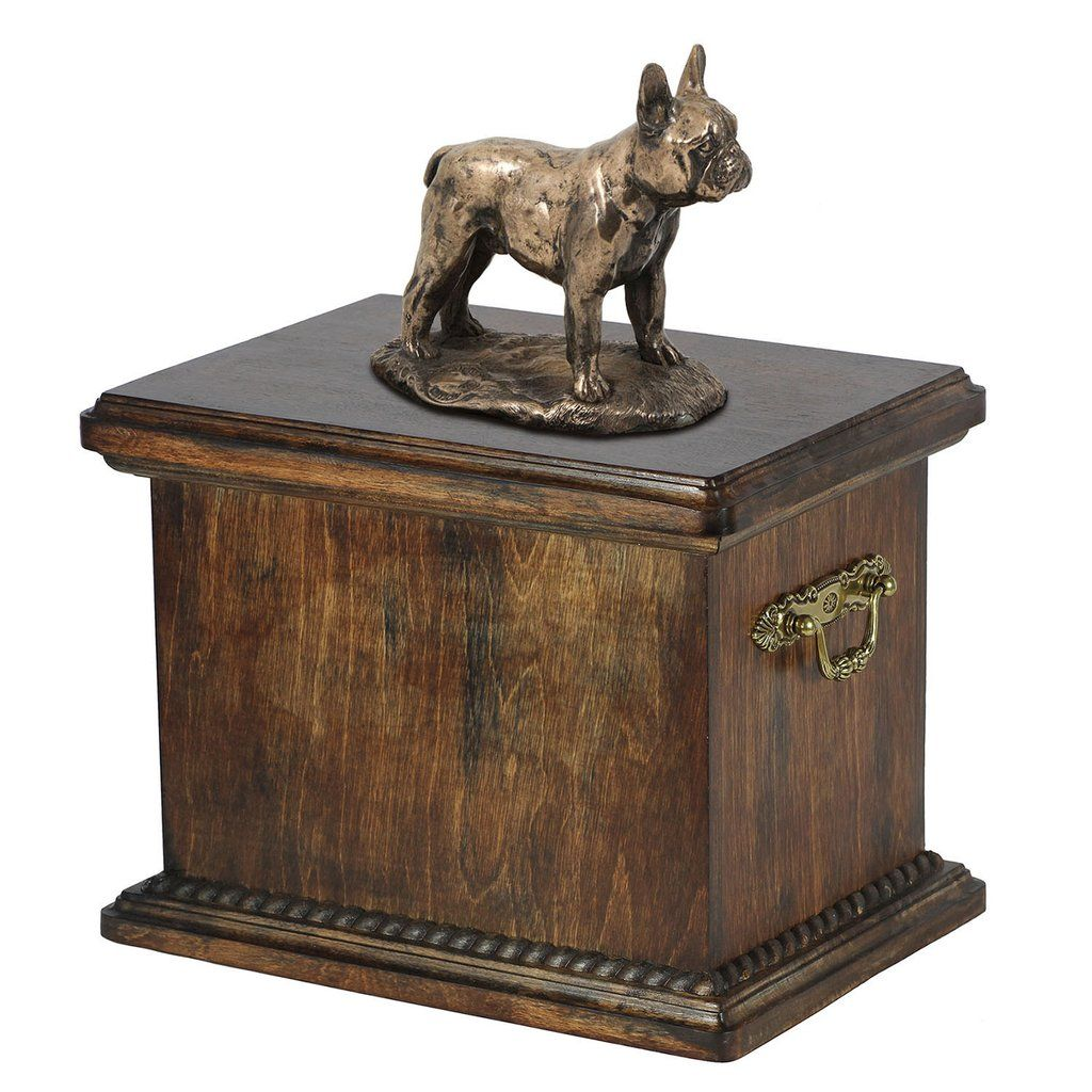 Solid Wood Casket French Bulldog Urn for Dog's ashes,with