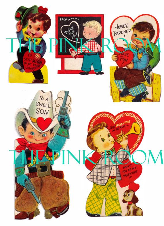 Victorian Valentine Cards, Cowboys, little boys, Digital Collage Sheet, Instant Digital Download YOURS NOW