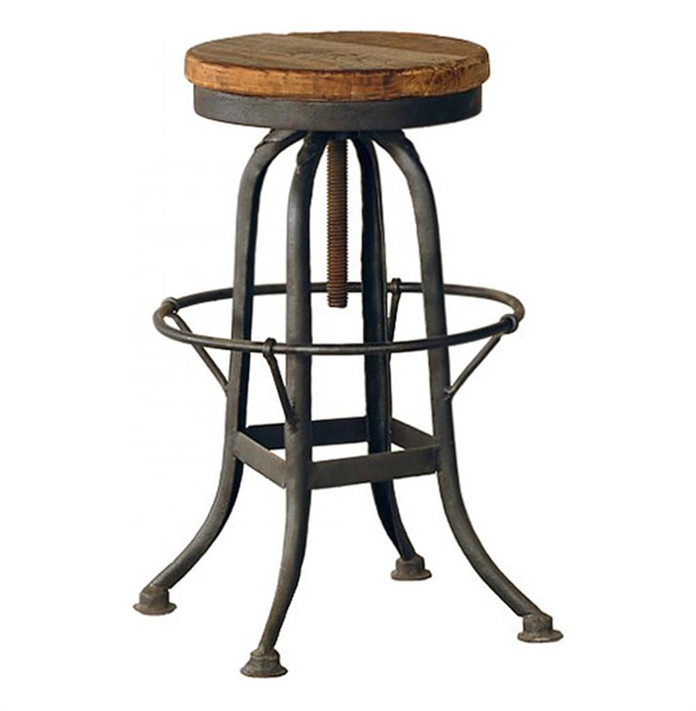 Oleg Industrial Loft Iron Base Reclaimed Wood Bar Counter Stool Reclaimed Wood Bars Iron Bar Stools Counter Stools