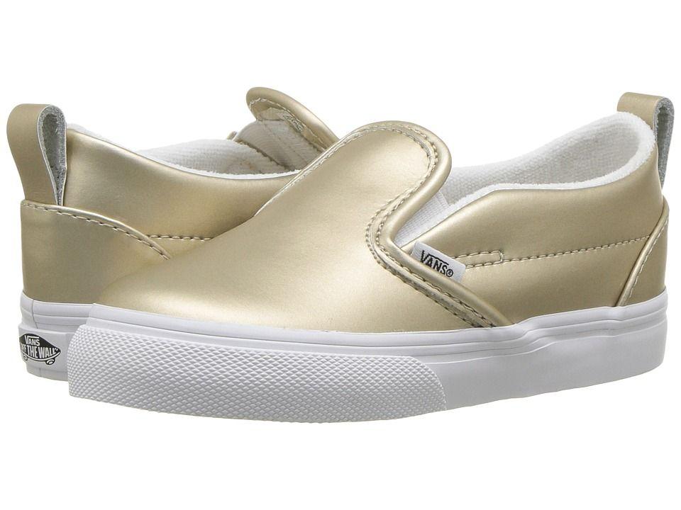 b6fda9b5518 Vans Kids Slip-On V (Toddler) Girls Shoes (Muted Metallic) Gold True White