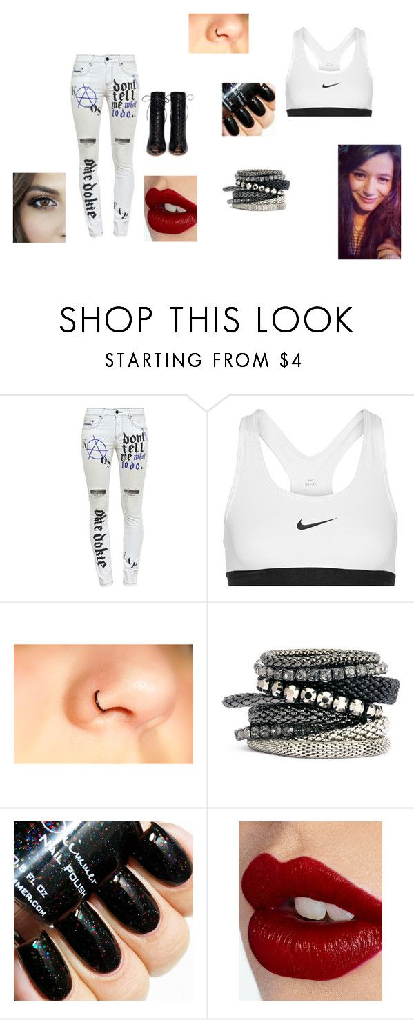 """""""gear"""" by katie88styles on Polyvore featuring Filles à papa, NIKE, H&M, Charlotte Tilbury, Gianvito Rossi, women's clothing, women's fashion, women, female and woman"""