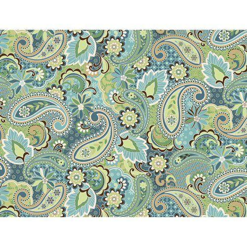Kentshire Cotton Fabric Paisley Turquoise Crafts