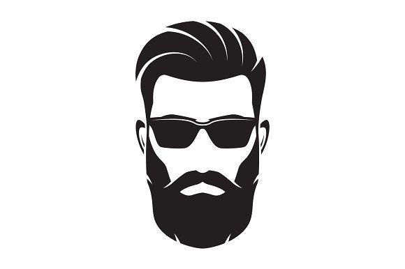 Bearded Men Face Hipster Character Vector Illustration Beard