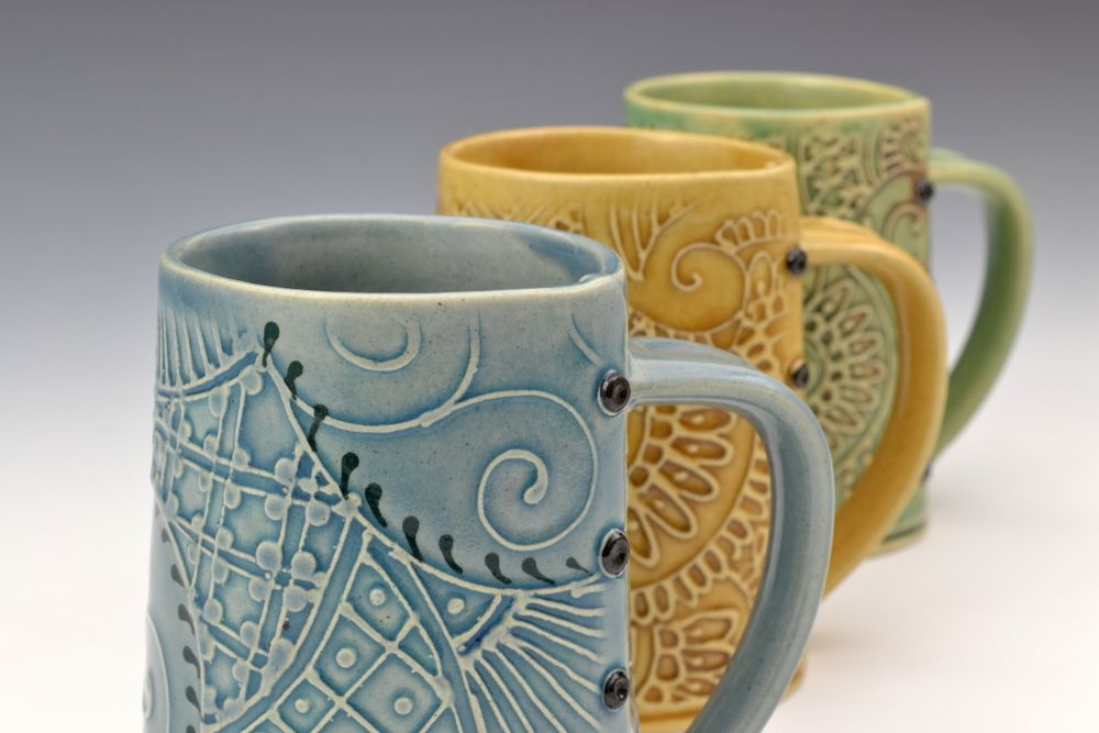 Handbuilt pottery mugs from charan sachar i like the for Handmade mug designs