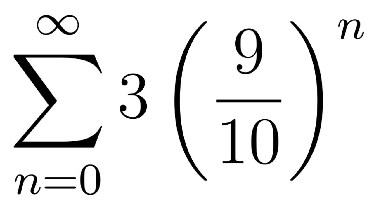 Find The Sum Of The Geometric Series Sum 3 9 10 N Geometric Series Sum Math Videos