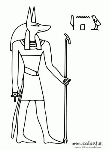 egypt stencils Egyptian god Anubis Print Color Fun Free