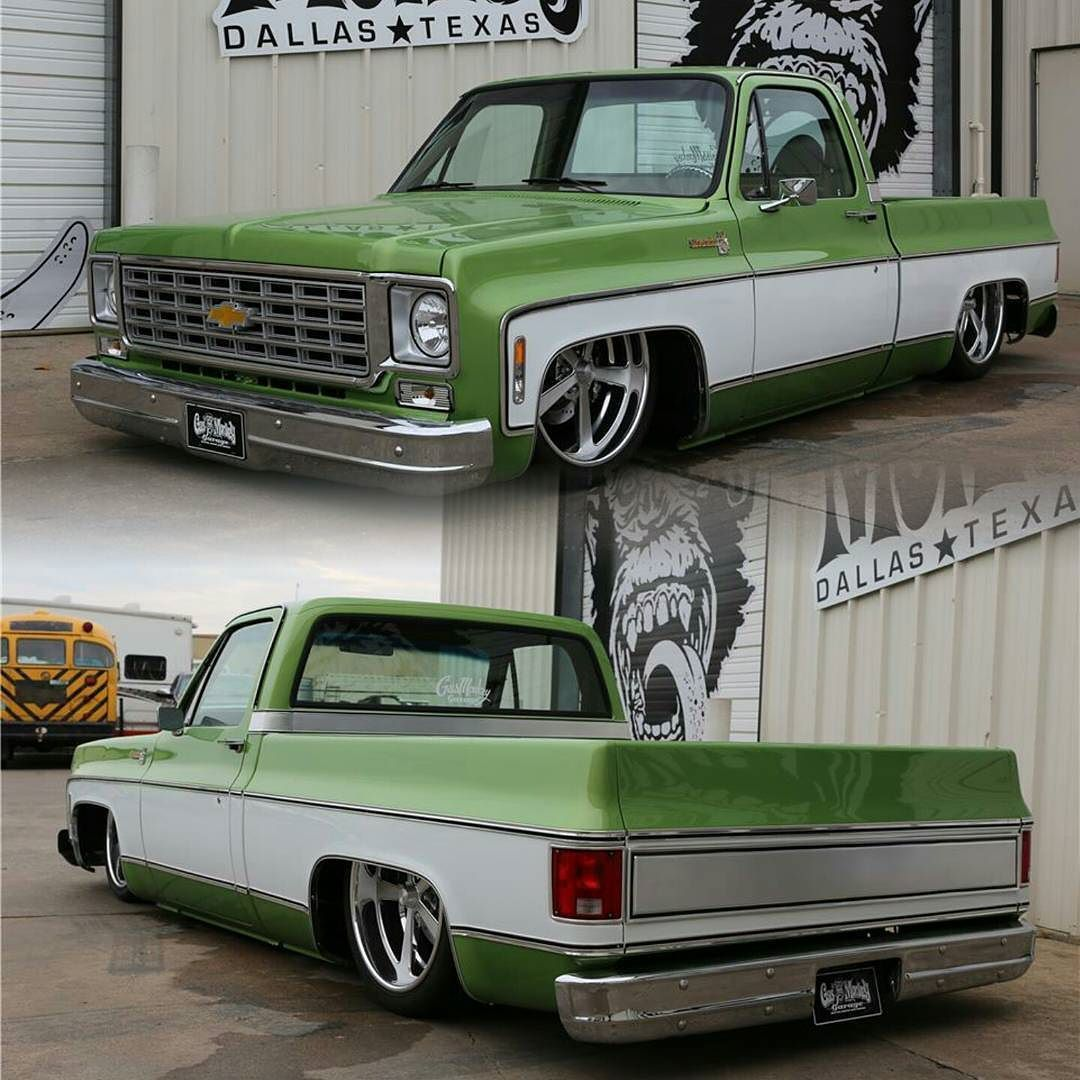 All Chevy c10 chevy : 76 Chevy C10 by @gasmonkeygarage #Chevy #C10 #Truck #Bagged ...