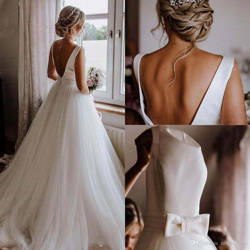 Glamorous Wedding Dresses 2019 Backless Bow Draped Sweep Train Garden Chapel Country Bridal Gowns Robe De Mariée Plus Size Wedding Dresses Wedding Dresses Bridal Gowns Robe De Mariee Online with $171.76/Piece on Modeldress's Store | DHgate.com #glamorouswedding #grecianweddingdresses