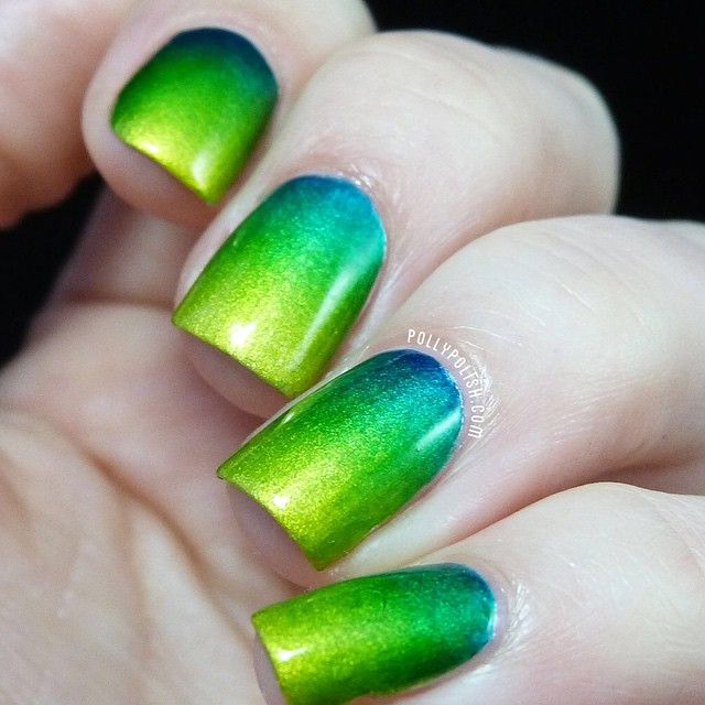 Gradient green and blue and yellow metallic effect using OPI Color ...
