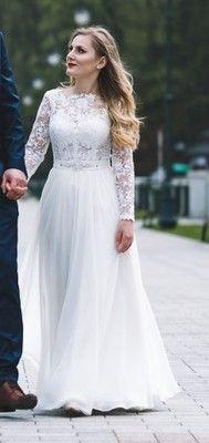 Gala 2017 Suknia Slubna Muslinowa Z Rekawem 6888491060 Oficjalne Archiwum Allegro Wedding Dresses Sleeveless Wedding Dresses