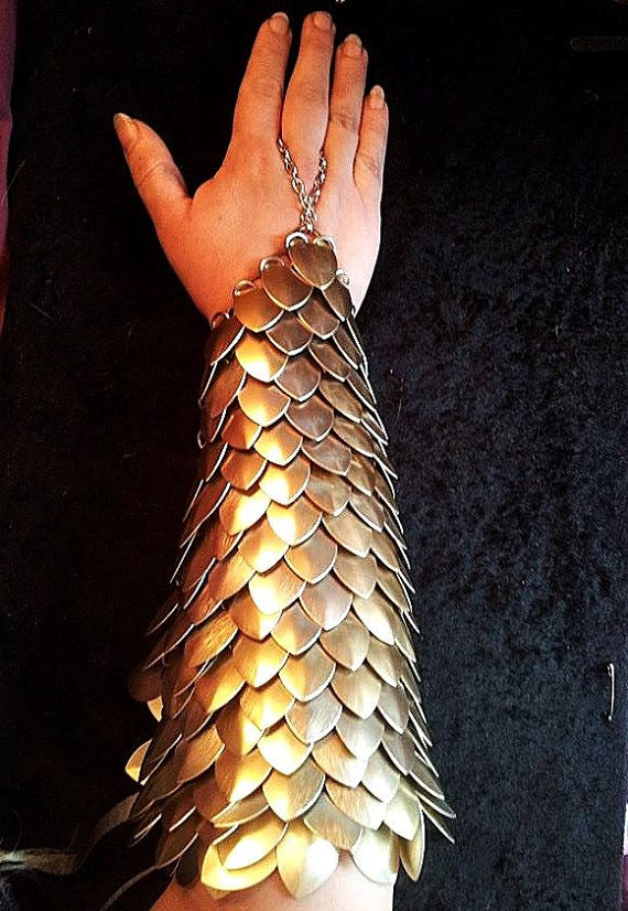 GOLD Scalemail full arm bracer DragonScale chainmail armor