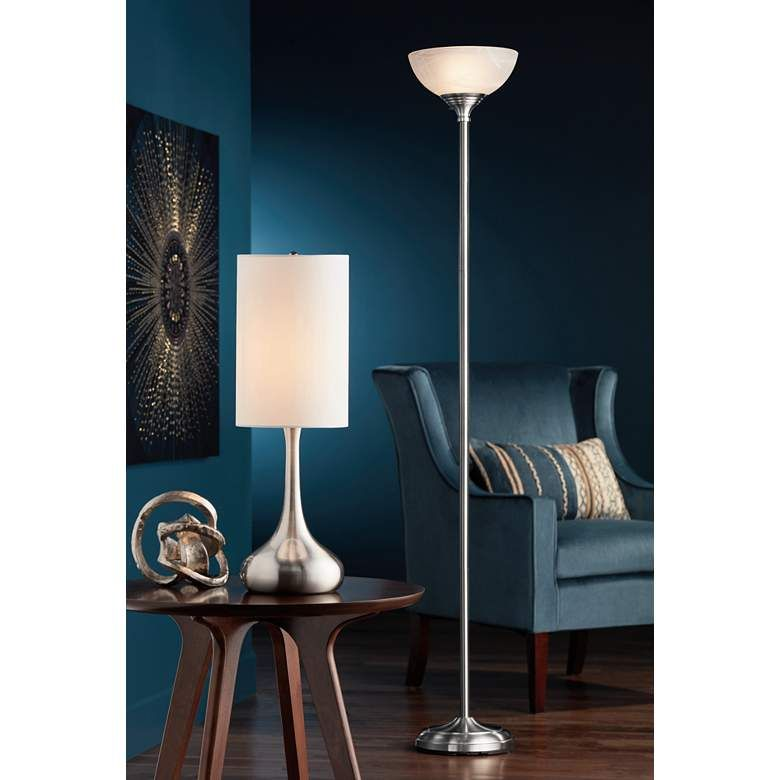 Brushed Nickel Droplet Table Lamp With Cylinder Shade V4325 Lamps Plus Modern Table Lamp Design Lamps Living Room Table Lamp