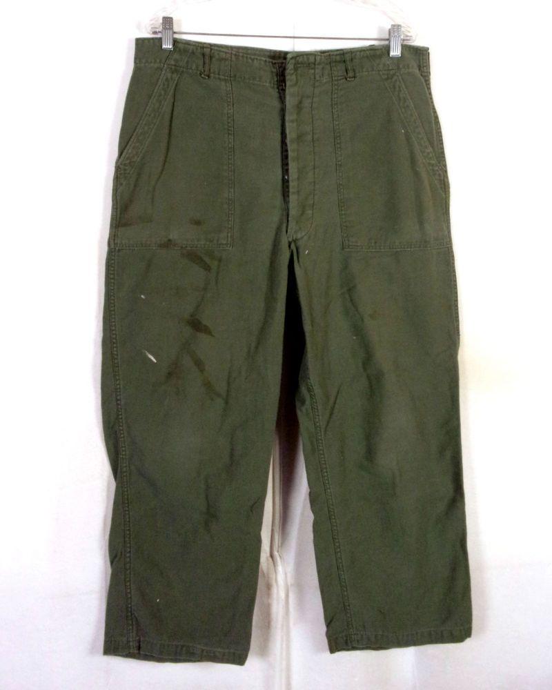 vtg 60s US Army Vietnam Era 1967 Sateen OG-107 Trousers Pants type 1