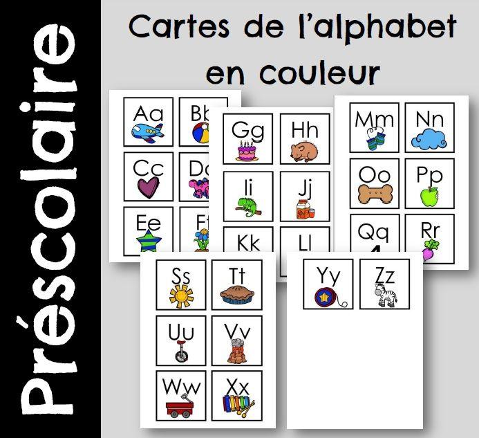 Carte de l'alphabet - version couleur   Alphabet, Carte ...