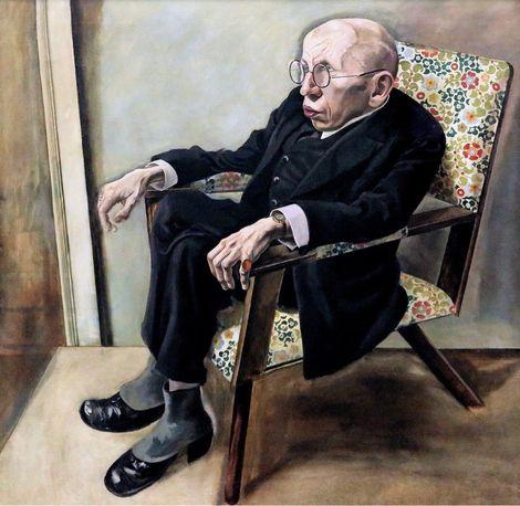 """George Grozs Gemälde """"Porträt des Schriftstellers Max Herrmann-Neiße (1925)"""" in der Galerie Neue Meister in Dresden."""