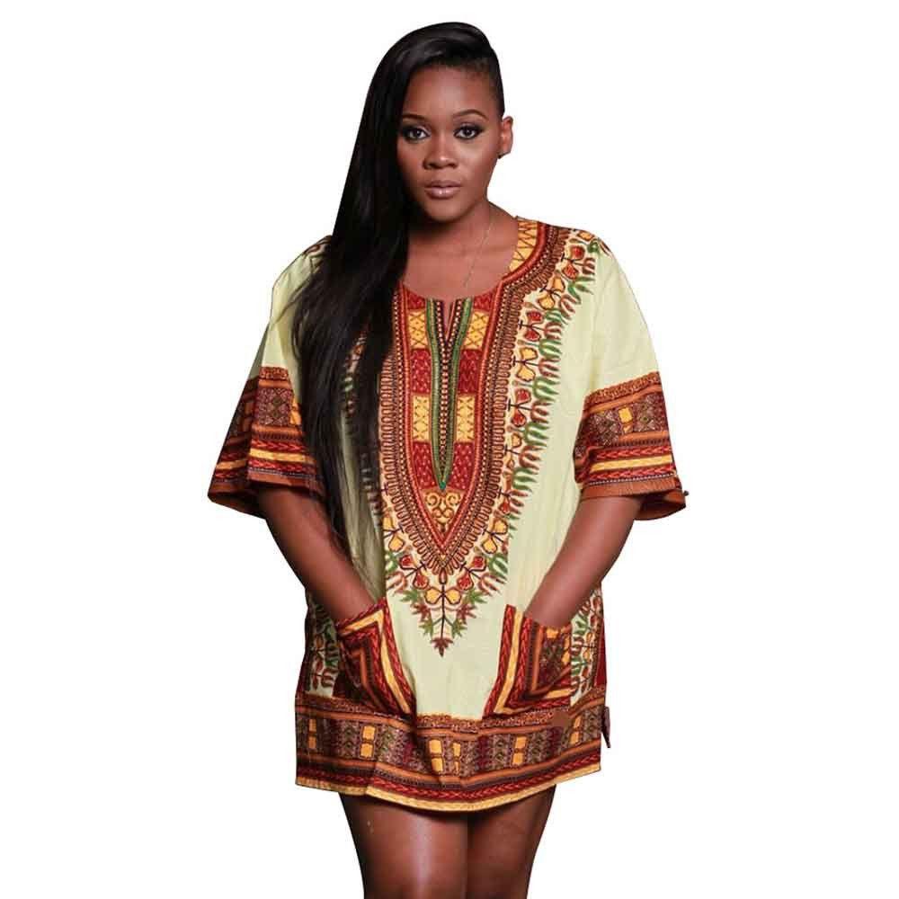 Plus Size Summer Women Dashiki Dress Lady African Printed Mini