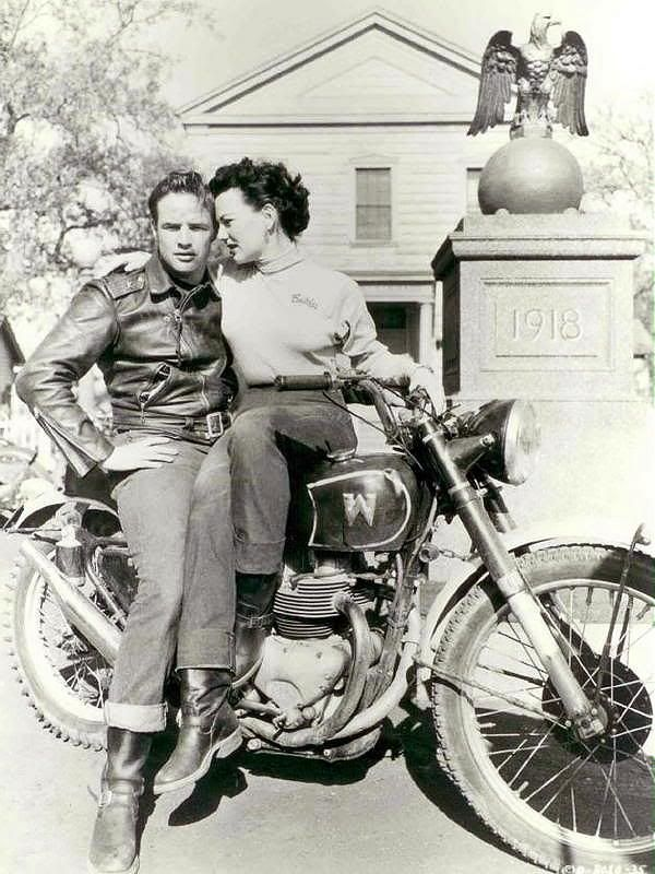 Famous People On Bikes Marlon Brando Vintage Biker Motorcycle