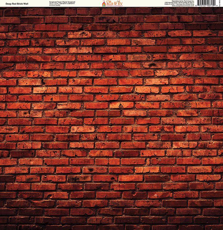 8741692080563 Ella and Viv Paper Company - Brick Backgrounds Collection - 12 x 12 Paper -  Deep Red Brick Wall at Scrapbook.com