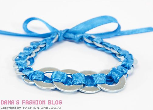 DIY bracelet from washers and satin ribbon - the final result