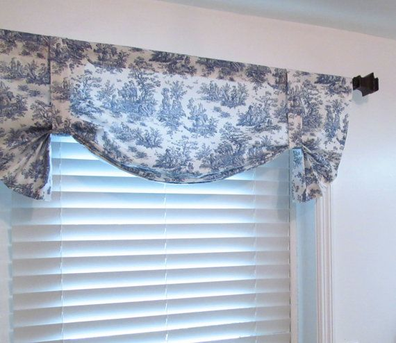 Tie Up Window Valance Navy Blue White Toile Shabby Chic French