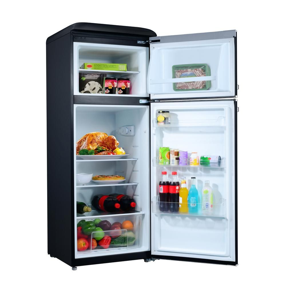 Galanz 7 6 Cu Ft Retro Mini Refrigerator With Dual Door And True Freezer In Black Glr76tbker The Home Depot In 2020 Retro Refrigerator Refrigerator True Freezer