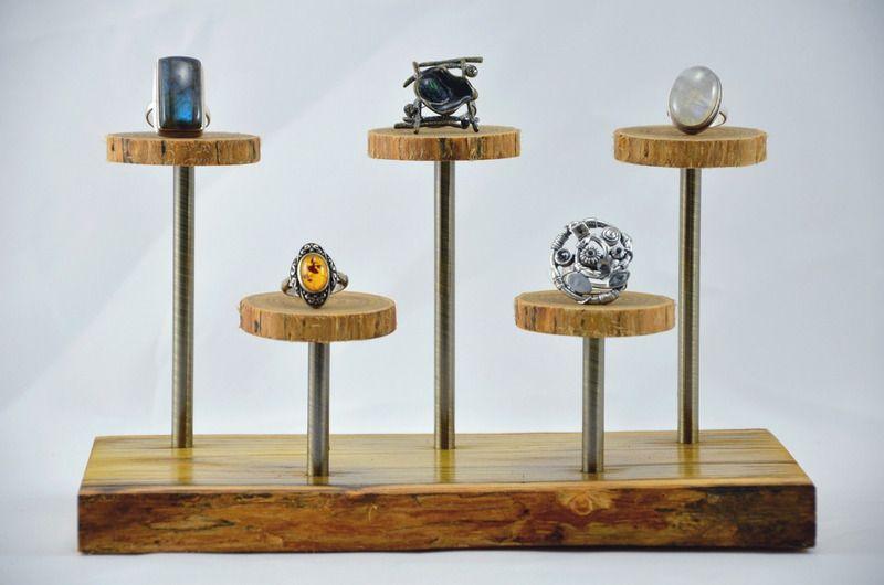 présentoir pour bagues en robinier massif - Présentoir à bijoux - tour a bois fait maison