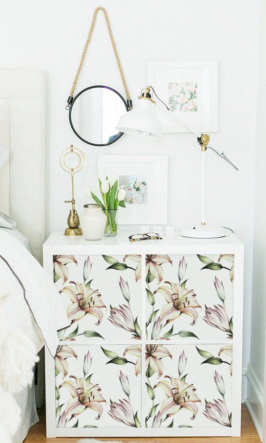 Decals for Kallax Expedit IKEA White Lilies Pattern Floral