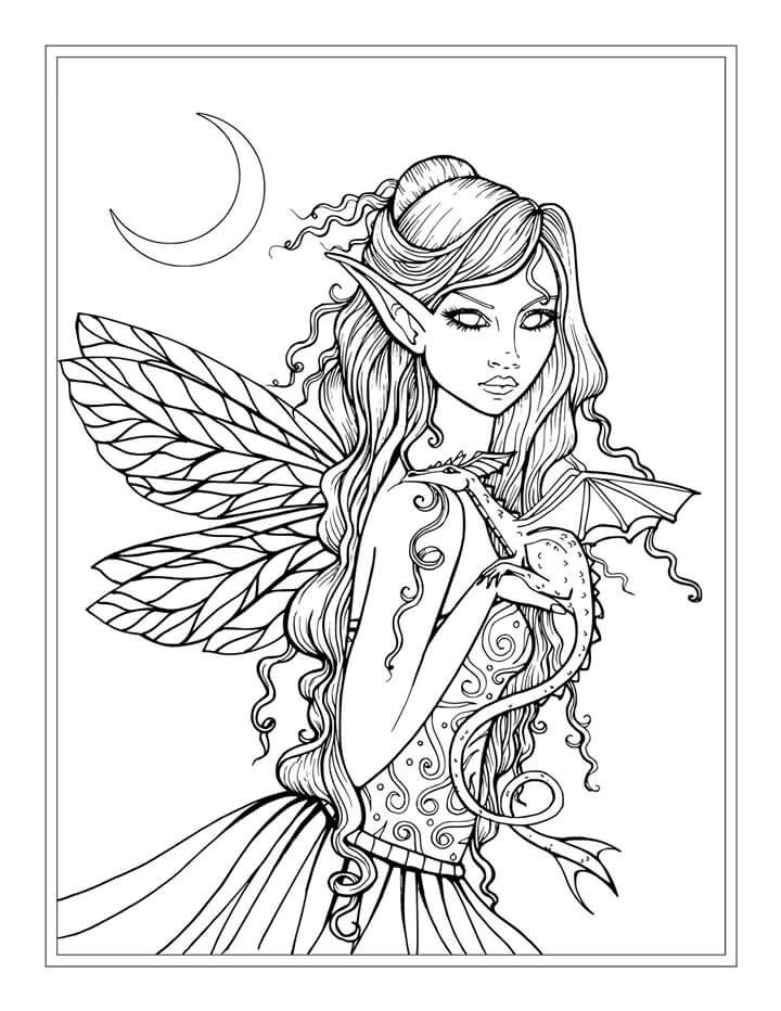 Free fairy and dragon coloring page by molly harrison for Adult coloring pages dragons