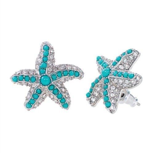 Stella Starfish Studs Rhinestone Turquoise Crystal Dot Earrings. ECA LISTING BY Pneutoon Store, Coimbatore, Tamil Nadu, India