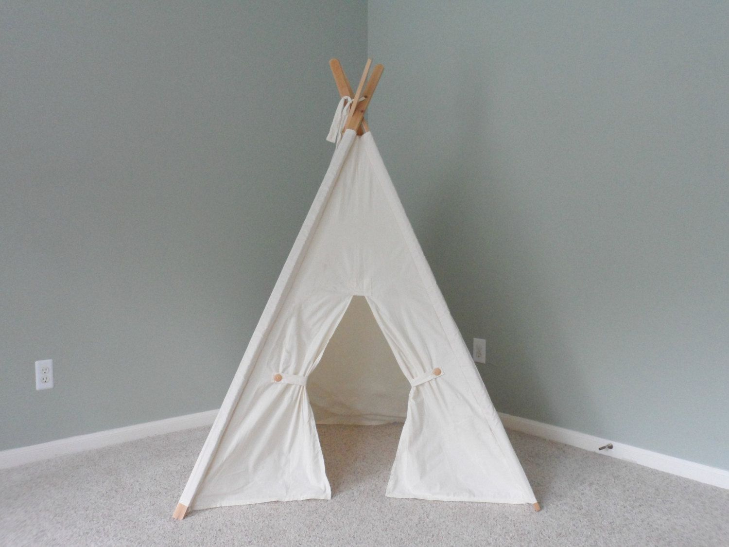 Muslin Kids Tent with Door Ties Teepee Play Tent Tipi Wigwam or Playhouse Pick your Muslin & Muslin Kids Tent with Door Ties Teepee Play Tent Tipi Wigwam or ...