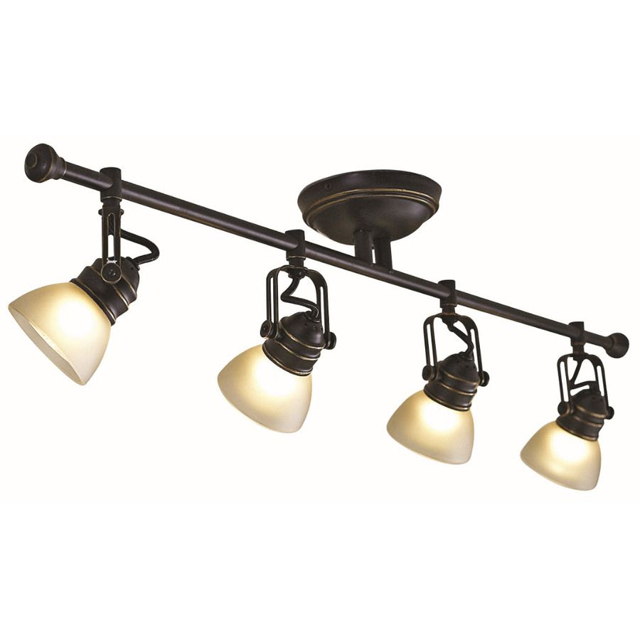 Kitchen Track Lighting Lowes: Shop Allen + Roth 4-Light Bronze Fixed Track Light Kit At