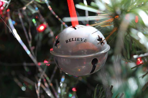 Sleigh Bell Ornament - I Believe - Santa Bell - Santa Sleigh - Jingle Bell - Christmas Tree ...