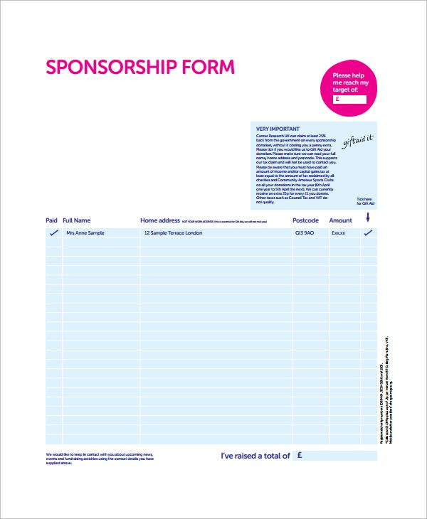 10 Sponsorship Form Templates Word Excel Pdf Templates Sponsorship Form Template Word Template Card Template