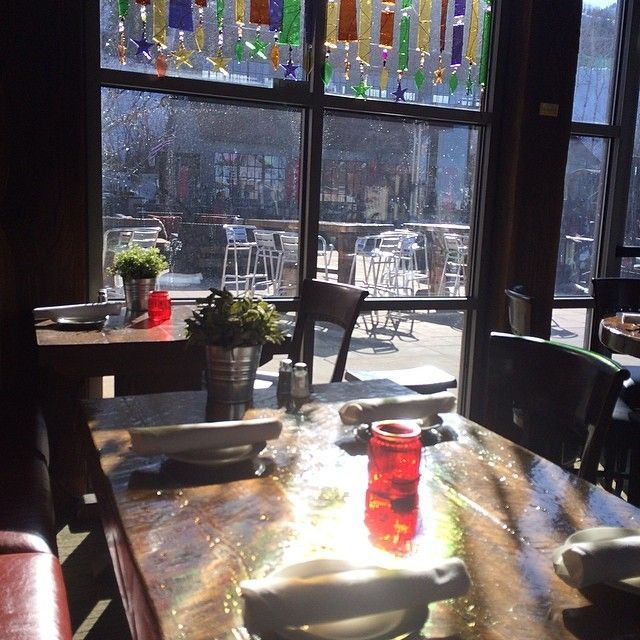 Late afternoon sun at Silver Star Cafe. #silverstarcafe #shadows #glass art #spring