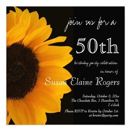 sunflower 50th birthday invitation pinterest 50th birthday