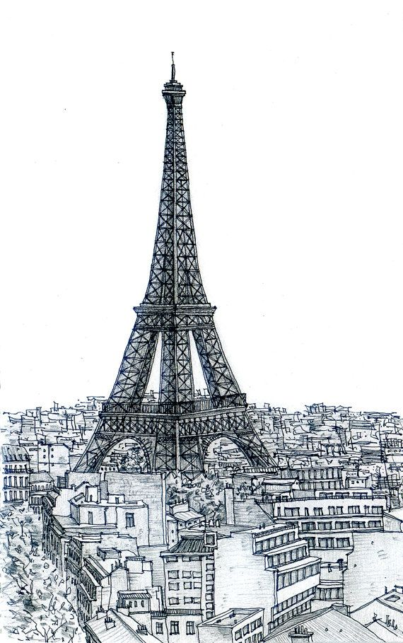 Eiffel Tower Pencil Sketch Paris Eiffel Tower Ske...