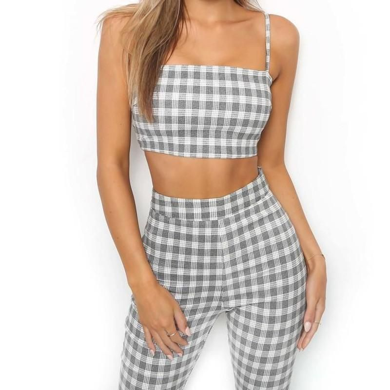 07829b1ba33d 2018 Plaid Two Piece Set Tracksuit Women Sexy Casual Sleeveless Sweatsuits  For Women Set Crop Tank Top And Flare Pants Leggings