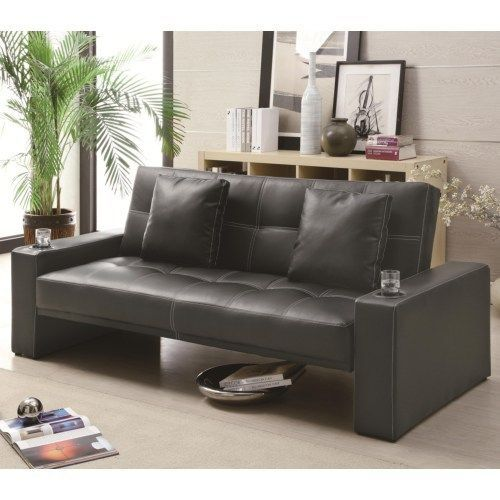 Black Futon Styled Sofa Sleeper with Casual Furniture Style by