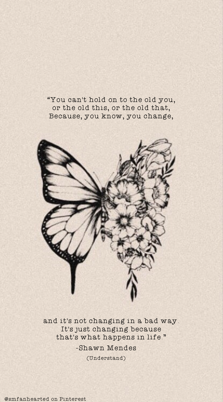 Shawn Mendes butterfly tattoo lock screen with lyrics from