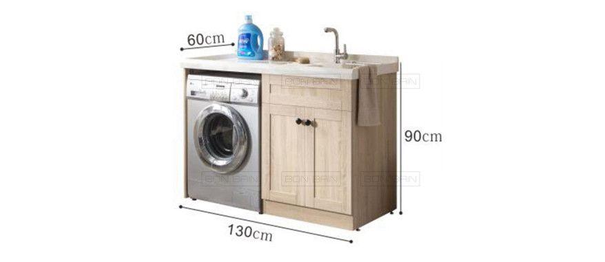 Meuble salle de bain en bois massif espace lave linge 130 cm C-SIMPLE