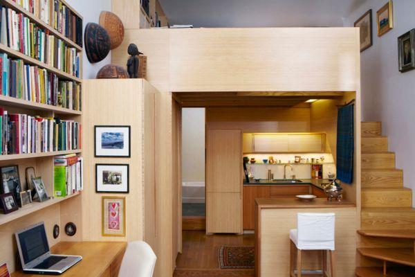 wohnideen kleine r ume einbauk che moderne ideen holz treppen l sungen f r kleine wohnungen. Black Bedroom Furniture Sets. Home Design Ideas