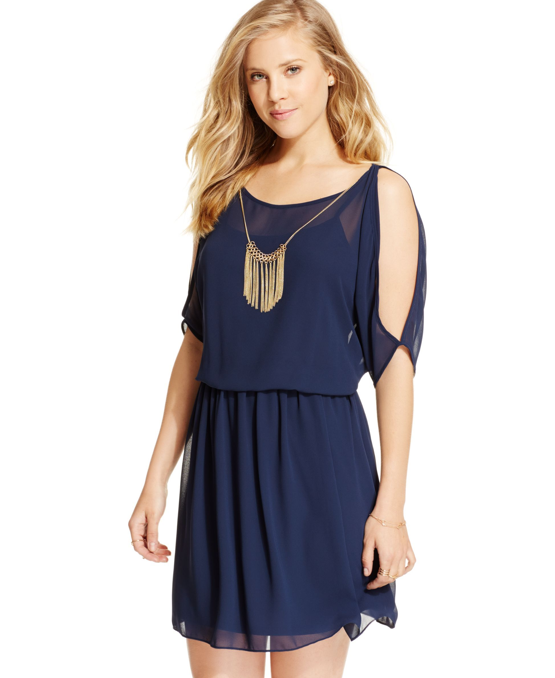 Bcx Juniors' Cold-Shoulder Necklace Dress | Products | Pinterest ...
