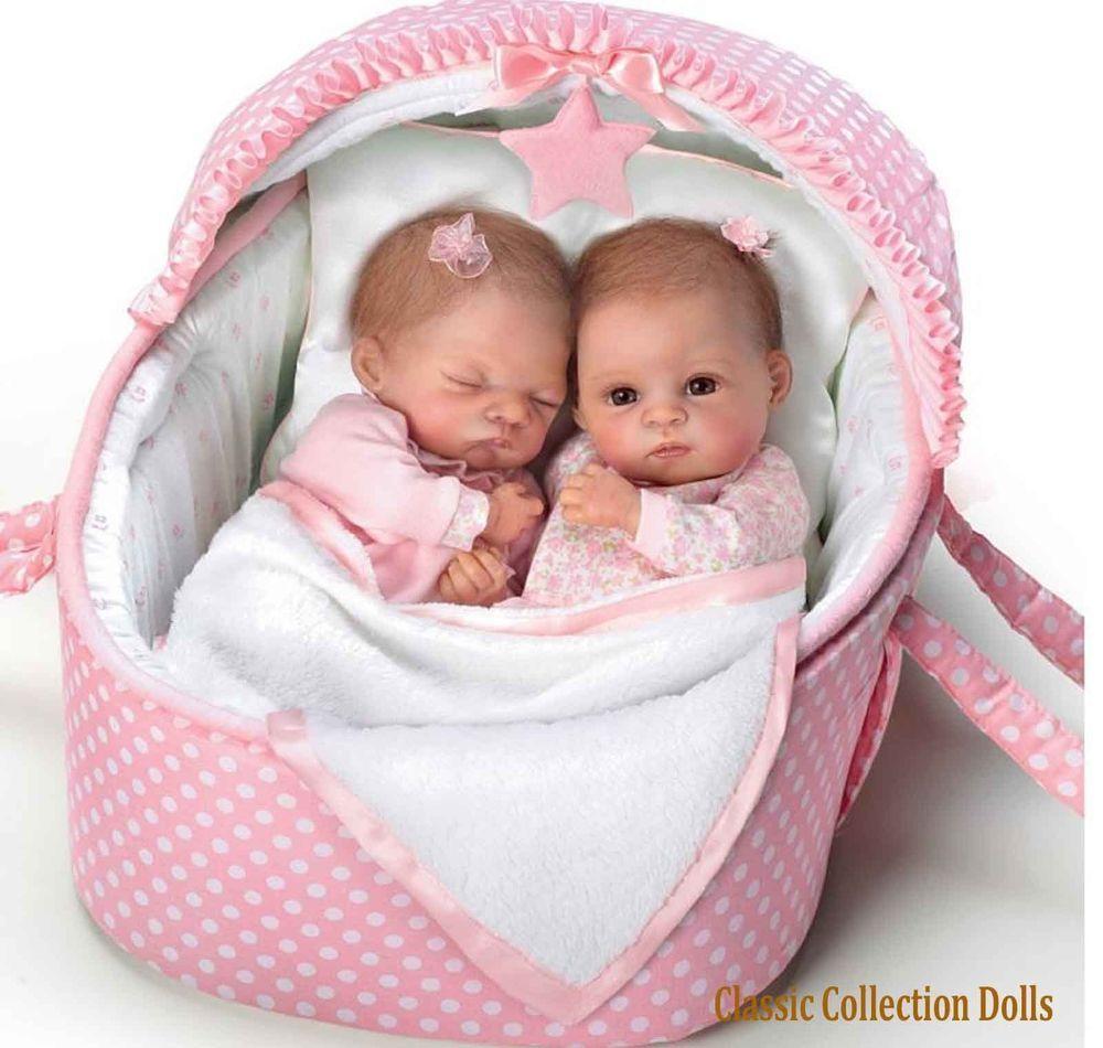 Ashton Drake Lullaby Twins Heather And Hannah 14 Lifelike Baby Dolls New