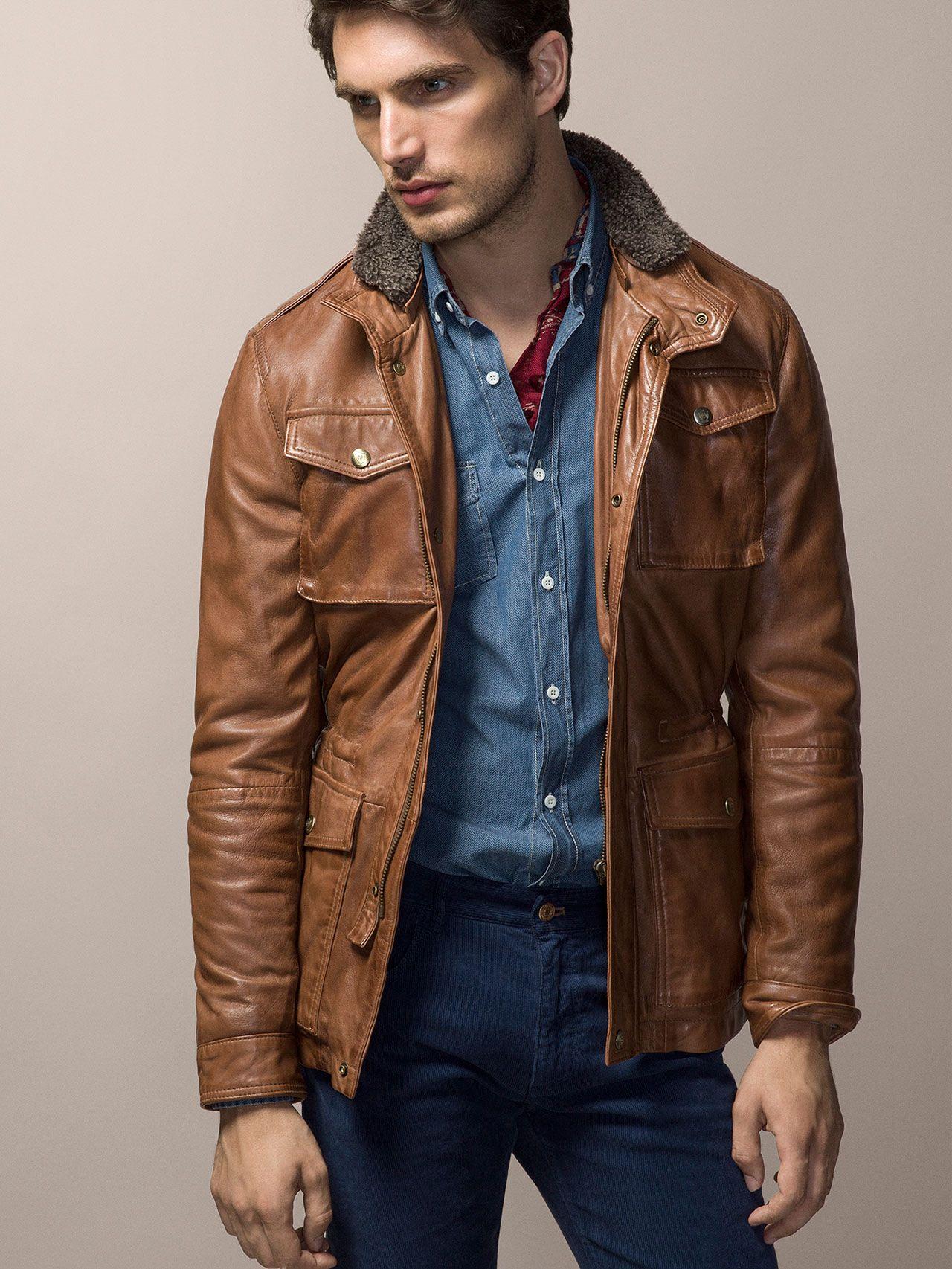 Nappa Leather Field Jacket With Merino Collar Massimo Dutti Leather Jacket Men Leather Jacket Outfit Men Mens Jackets [ 1706 x 1280 Pixel ]