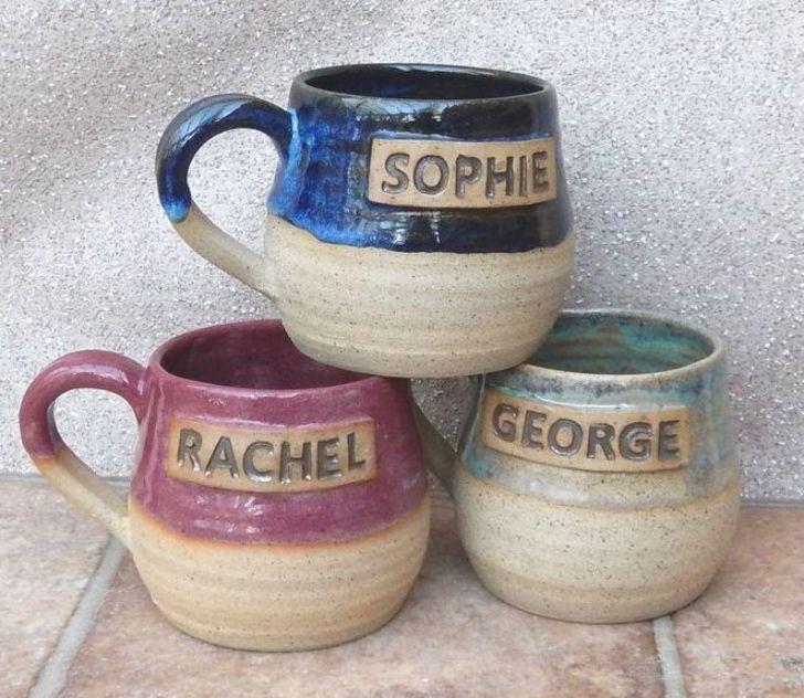 Personalised mug custom made wheelthrown stoneware handmade ceramic hand thrown pottery