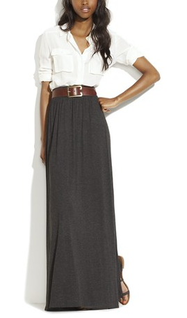 maxi skirt with leather belt and a clean and crisp white blouse, classic.