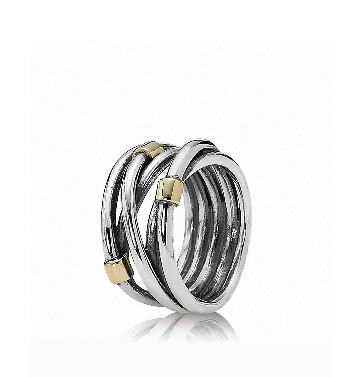 340930628 PANDORA Ring - Sterling Silver & 14K Gold Rope | Bloomingdale's ...