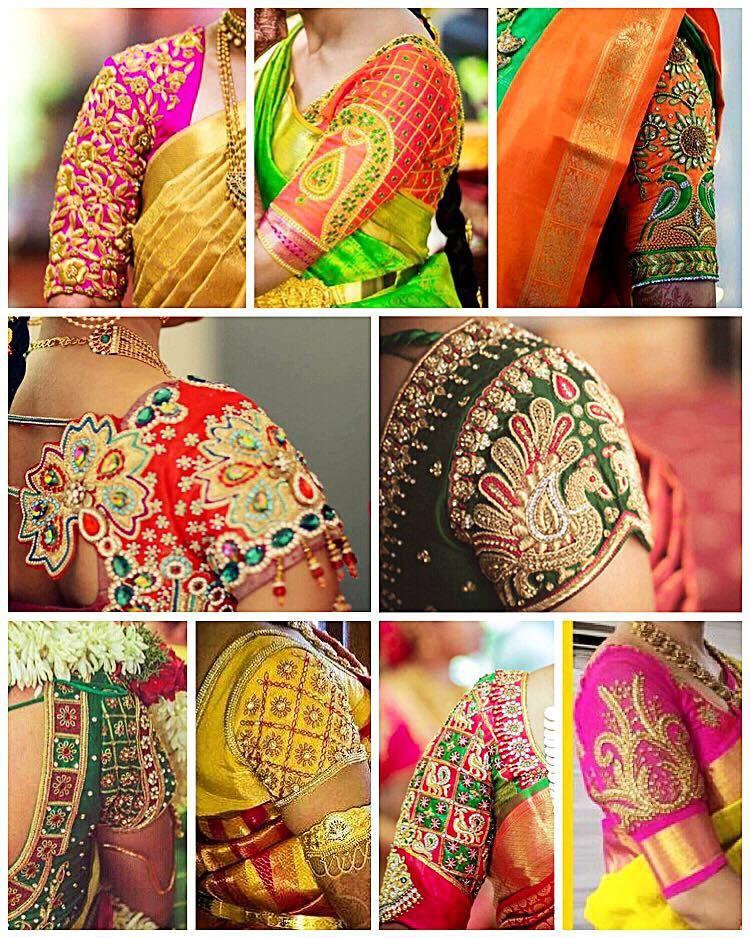 0dee7435b57ba Beautiful bridal designer blouse sleeves with hand embroidery thread cut  and kundan work. sajna designs. Contact   090948 71467. 10 November 2016