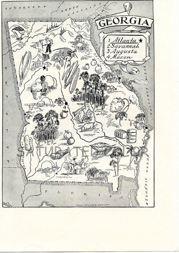 Map A Delightfully Amusing ORIGINAL Vintage Map